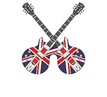 British Mod Union Jack Guitars Photographic Print
