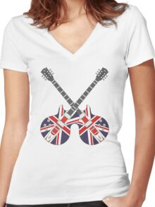 British Mod Union Jack Guitars Women's Fitted V-Neck T-Shirt