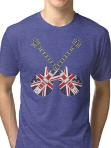 British Mod Union Jack Guitars Tri-blend T-Shirt