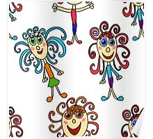 seamless pattern with curly girls on white Poster