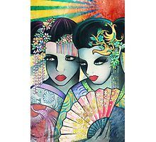 Geisha Girls Holding a Fan Photographic Print