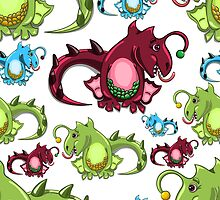 seamless pattern with dragons on the white background by Ann-Julia