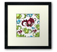 seamless pattern with dragons on the white background Framed Print