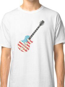 USA Flag Guitar Classic T-Shirt