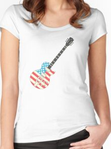USA Flag Guitar Women's Fitted Scoop T-Shirt