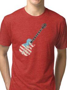 USA Flag Guitar Tri-blend T-Shirt