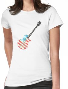 USA Flag Guitar Womens Fitted T-Shirt