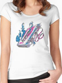 Music Tape Cassette Flames Women's Fitted Scoop T-Shirt