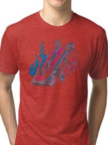 Music Tape Cassette Flames Tri-blend T-Shirt