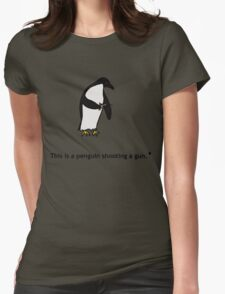 Penguin with a Gun Womens Fitted T-Shirt