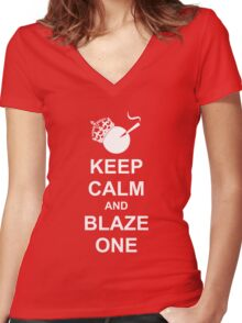 Keep Calm Blaze One White Silhouette Rolled Joint Women's Fitted V-Neck T-Shirt