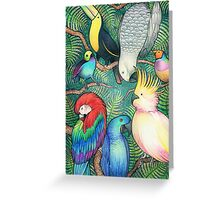 Parrots in the trees Greeting Card