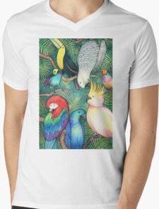Parrots in the trees Mens V-Neck T-Shirt
