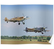 Friend And Foe Take Off - Duxford Flying Legends 2013 Poster