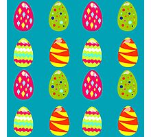 seamless pattern with easter eggs on the blue background Photographic Print