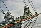 BOWSPRIT OF OLD SHIP (bowsprit showing the staysail and foresail hanked on the forestay and headstay. by Karo / Caroline Evans (Caux-Evans)
