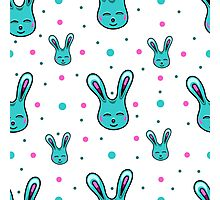 seamless pattern with Easter rabbits on the white backgound Photographic Print