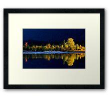 Moose Lake, reflections, in fall. Jasper National Park, Alberta, Canada. Framed Print