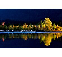 Moose Lake, reflections, in fall. Jasper National Park, Alberta, Canada. Photographic Print