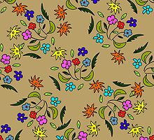seamless pattern with flowers on a beige background by Ann-Julia