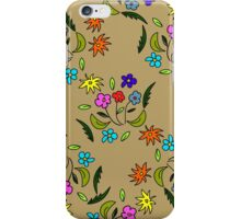 seamless pattern with flowers on a beige background iPhone Case/Skin