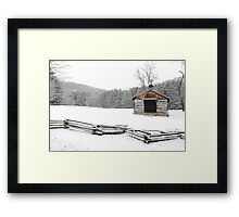Snow on The Log Church Framed Print
