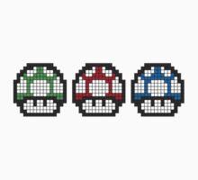 8Bit - Mario Mushrooms One Piece - Short Sleeve