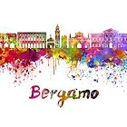 Bergamo skyline in watercolor by paulrommer