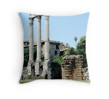 Ruins Of Temple Of Castor and Pollux, Rome, Italy Throw Pillow