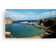 TRANQUIL COVE WITH CHURCH.....LINDOS, RHODES, GREECE Canvas Print