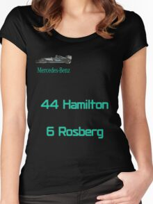 Mercedes AMG F1 2016 - Rosberg Hamilton Women's Fitted Scoop T-Shirt