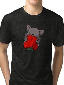 Bat eating a strawberry Tri-blend T-Shirt