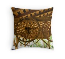 old stagecoach wheels Throw Pillow