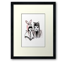 Cute Couple in Animal Hats Framed Print