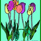 Watercolor Spring Tulips by Bea Godbee