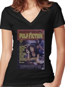 Pulp Fiction Poster Women's Fitted V-Neck T-Shirt