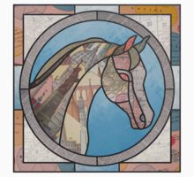 Stained Glass Map Horse One Piece - Short Sleeve