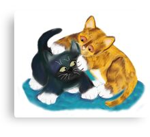 Two Kittens Wrestle Canvas Print