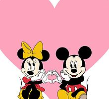 Mickey & Minnie - Pink Heart by AngieBee