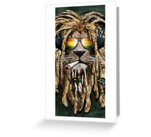 DJ Rasta Lion Smoke Greeting Card