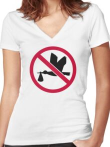 No stork baby Women's Fitted V-Neck T-Shirt