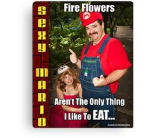 SexyMario MEME - Fire Flowers Aren't The Only Thing I Like To Eat! Canvas Print