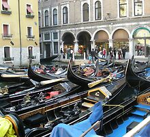 port of gondolas in Venice by annalisa bianchetti