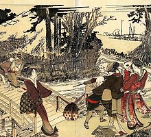 'Village Near a Bridge' by Katsushika Hokusai (Reproduction) by Roz Abellera Art Gallery