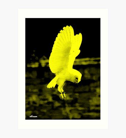 Barn owl edit Yellow Art Print