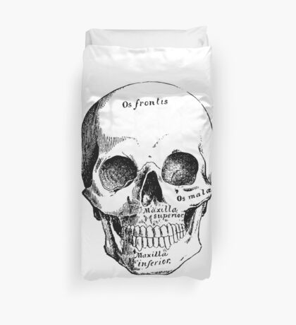 Science, Skull Diagram Drawing Duvet Cover