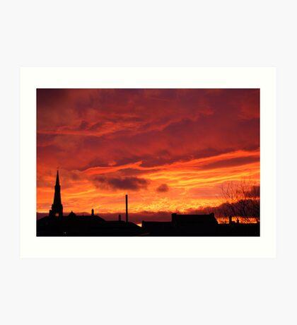 sunset over Rotherham Art Print