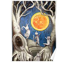they dance under the light of the moon paper cut Poster