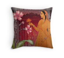 flower and door with lady Throw Pillow