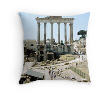 Temple Of Saturn, Roman Forum, Rome, Italy Throw Pillow